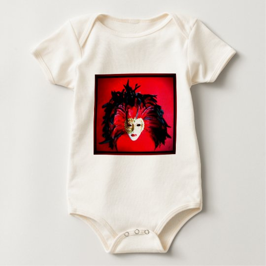 MARDI GRAS MASQUE BLACK AND RED RELIEF BABY BODYSUIT