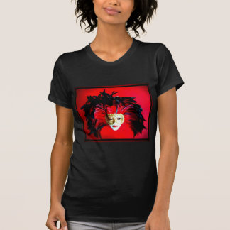 MARDI GRAS MASQUE BLACK AND RED RELIEF T-Shirt