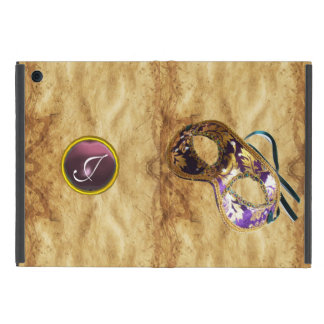 MARDI GRAS MASQUERAD PURPLE MONOGRAM Parchment iPad Mini Cover