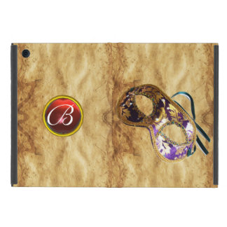 MARDI GRAS MASQUERAD RUBY MONOGRAM,Brown Parchment iPad Mini Cover