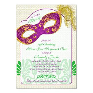 Mardi Gras Masquerade Ball 50th Birthday Card