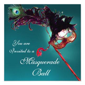 """MARDI GRAS MASQUERADE BALL MASK blue pink fuchsia 5.25"""" Square Invitation Card"""