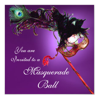 MARDI GRAS MASQUERADE BALL purple pink fuchsia Card
