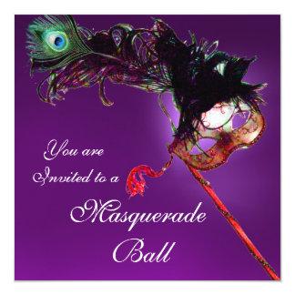 """MARDI GRAS MASQUERADE BALL purple pink fuchsia 5.25"""" Square Invitation Card"""