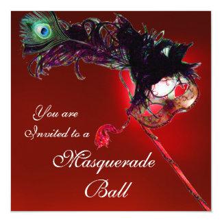 """MARDI GRAS MASQUERADE BALL red black white blue 5.25"""" Square Invitation Card"""