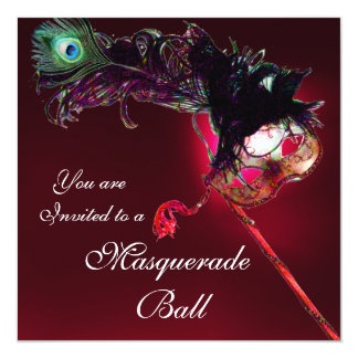 MARDI GRAS MASQUERADE BALL red burgundy Card