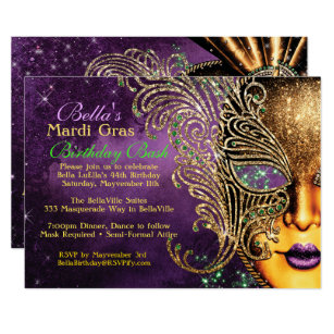 graphic regarding Free Printable Mardi Gras Invitations identified as Mardi Gras Masquerade Birthday Get together Invites