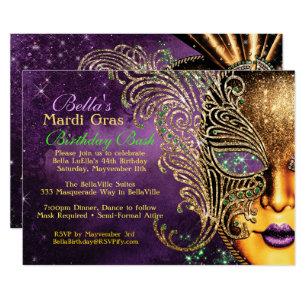 graphic regarding Free Printable Mardi Gras Invitations identified as Mardi Gras Masquerade Birthday Get together Invites
