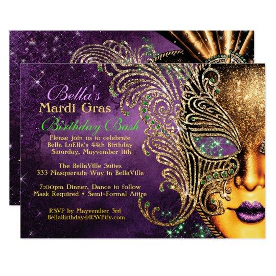 Mardi Gras Masquerade Birthday Party Invitations Zazzle Com