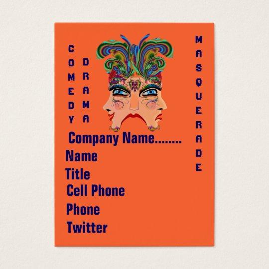 Mardi Gras Masquerade Comedy Drama View Hints Plse Business Card