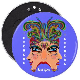 Mardi Gras Masquerade Comedy Drama View Hints Plse 6 Inch Round Button