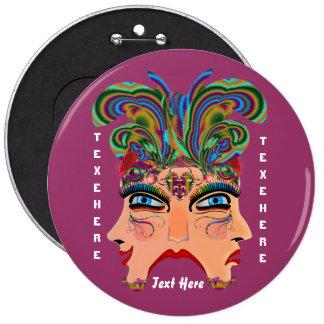 Mardi Gras Masquerade Comedy Drama View Hints Plse Pinback Button