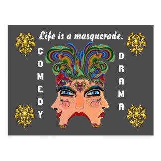 Mardi Gras Masquerade Comedy Drama View Hints Plse Postcard