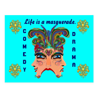 Mardi Gras Masquerade Comedy Drama View Hints Plse Post Cards
