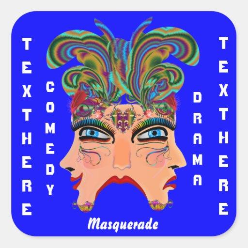 Mardi Gras Masquerade Comedy Drama View Hints Plse Square Sticker