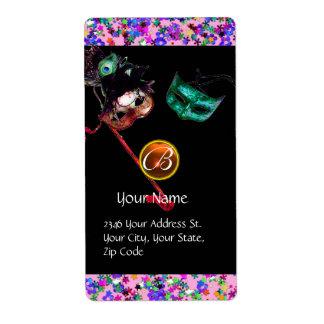 MARDI GRAS MASQUERADE Confetti gem monogram black Label
