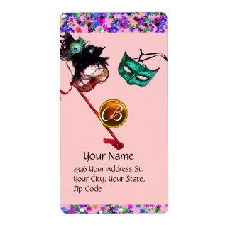 MARDI GRAS MASQUERADE Confetti gem monogram purple Label
