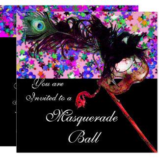 MARDI GRAS MASQUERADE & CONFETTI silver Card