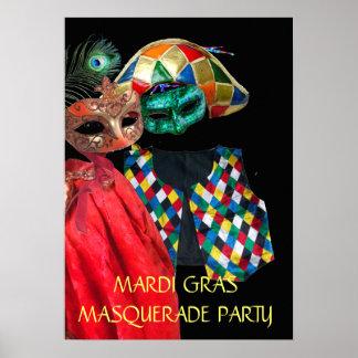 MARDI GRAS MASQUERADE COUPLE,HARLEQUIN COSTUME POSTER