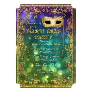 Mardi Gras Masquerade Mask Bokeh Gold Glitter Card