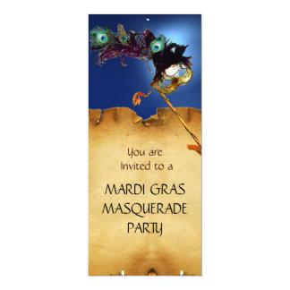 """MARDI GRAS MASQUERADE PARTY, blue 4"""" X 9.25"""" Invitation Card"""