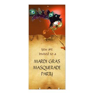 MARDI GRAS MASQUERADE PARTY, blue orange Card