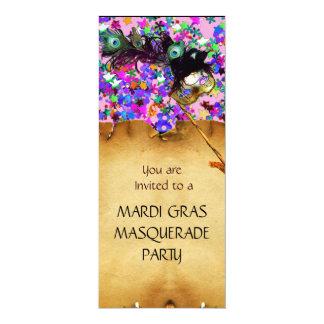 MARDI GRAS MASQUERADE  PARTY, blue red confetti Card