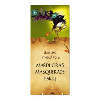 """MARDI GRAS MASQUERADE PARTY, blue yellow 4"""" X 9.25"""" Invitation Card"""