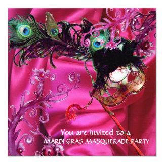 MARDI GRAS MASQUERADE PARTY, FUCHSIA SILK CLOTH CARD