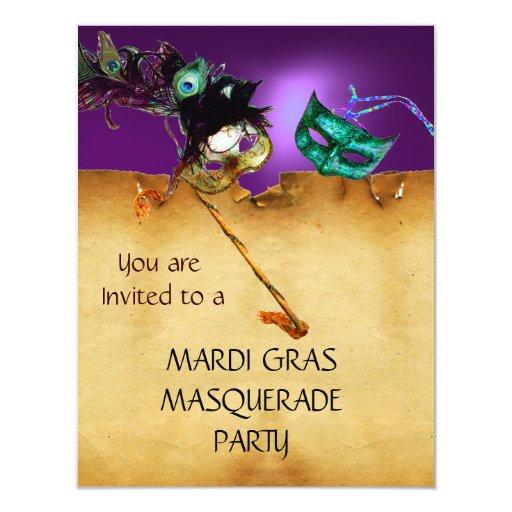 MARDI GRAS MASQUERADE PARTY, orange purple Custom Invites