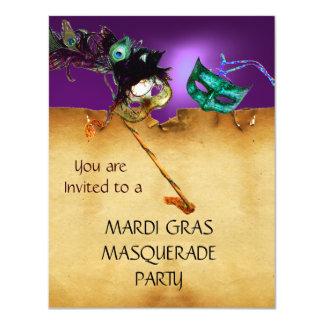 """MARDI GRAS MASQUERADE PARTY, orange purple 4.25"""" X 5.5"""" Invitation Card"""