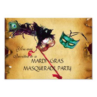 MARDI GRAS MASQUERADE PARTY, parchment rsvp Card