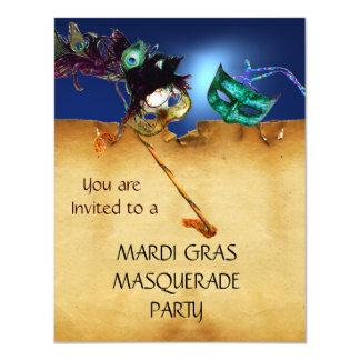 "MARDI GRAS MASQUERADE PARTY parchment Yellow blue 4.25"" X 5.5"" Invitation Card"