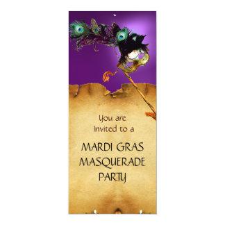"""MARDI GRAS MASQUERADE PARTY,  purple 4"""" X 9.25"""" Invitation Card"""