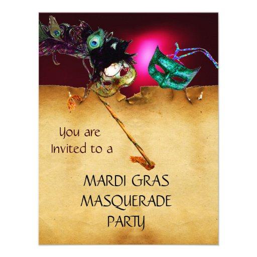 MARDI GRAS MASQUERADE PARTY, red burgundy Custom Invitation