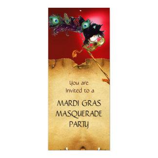 """MARDI GRAS MASQUERADE PARTY, red 4"""" X 9.25"""" Invitation Card"""