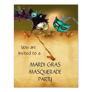 "MARDI GRAS MASQUERADE PARTY red yellow blue black 4.25"" X 5.5"" Invitation Card"