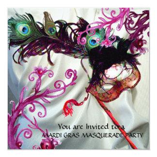 """MARDI GRAS MASQUERADE PARTY, WHITE SILK CLOTH 5.25"""" SQUARE INVITATION CARD"""