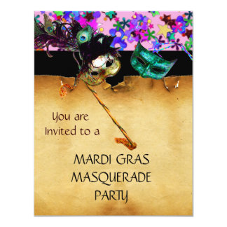 MARDI GRAS MASQUERADE PARTY, Yellow confetti Card