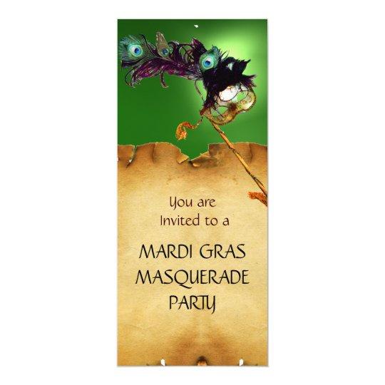 MARDI GRAS MASQUERADE PARTY, Yellow green Card