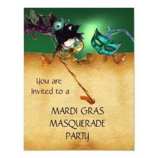 "MARDI GRAS MASQUERADE PARTY, Yellow green 4.25"" X 5.5"" Invitation Card"