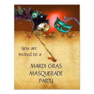 """MARDI GRAS MASQUERADE PARTY, Yellow 4.25"""" X 5.5"""" Invitation Card"""