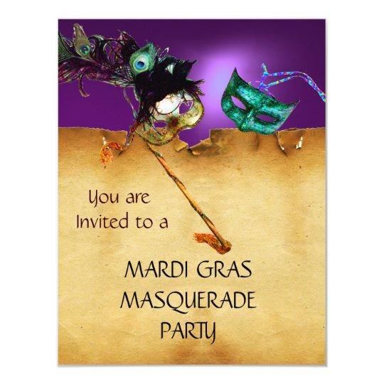 MARDI GRAS MASQUERADE PARTY, Yellow purple blue Card