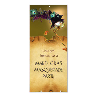 "MARDI GRAS MASQUERADE PARTY, Yellow red 4"" X 9.25"" Invitation Card"