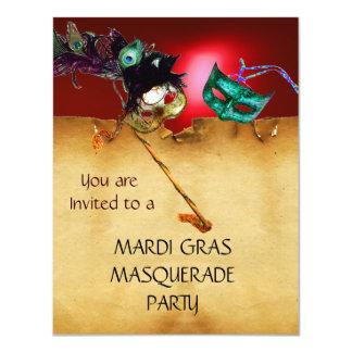 "MARDI GRAS MASQUERADE PARTY, Yellow red 4.25"" X 5.5"" Invitation Card"