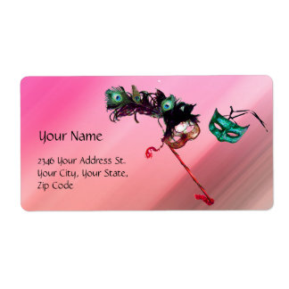 MARDI GRAS MASQUERADE pink fuchsia blue black silk Label
