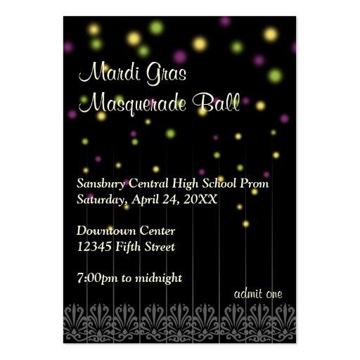 Mardi Gras masquerade prom bid admission ticket Business Card Template