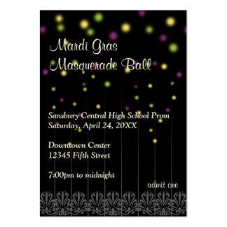 Mardi Gras masquerade prom bid admission ticket Large Business Card