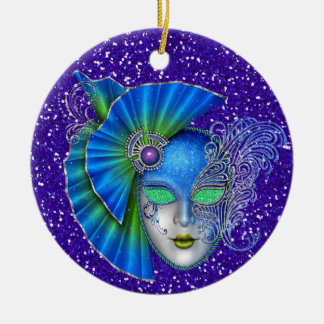 Mardi Gras - Masquerade - SRF Double-Sided Ceramic Round Christmas Ornament