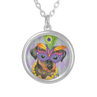 Mardi Gras Min Pin Silver Plated Necklace